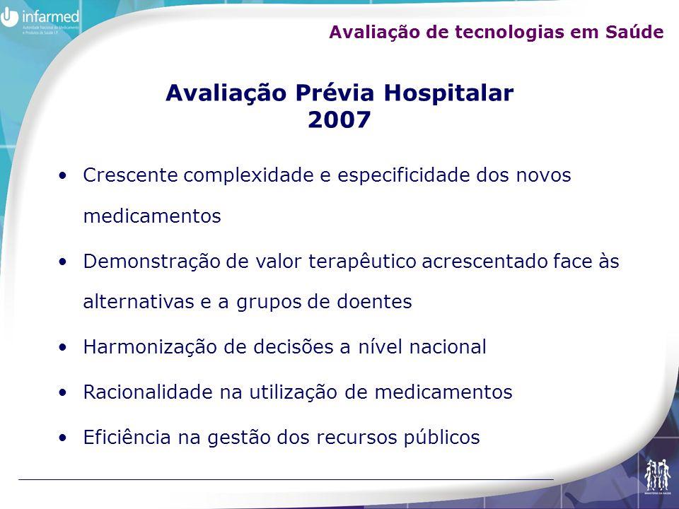 Avaliação Prévia Hospitalar 2007 Crescente complexidade e especificidade dos novos medicamentos Demonstração de valor terapêutico acrescentado face às