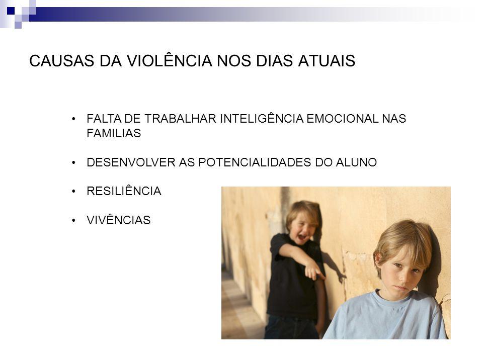 CAUSAS DA VIOLÊNCIA NOS DIAS ATUAIS FALTA DE TRABALHAR INTELIGÊNCIA EMOCIONAL NAS FAMILIAS DESENVOLVER AS POTENCIALIDADES DO ALUNO RESILIÊNCIA VIVÊNCI