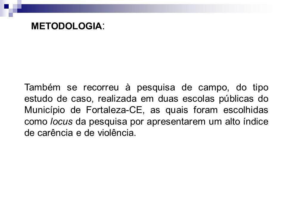 Também se recorreu à pesquisa de campo, do tipo estudo de caso, realizada em duas escolas públicas do Município de Fortaleza-CE, as quais foram escolh