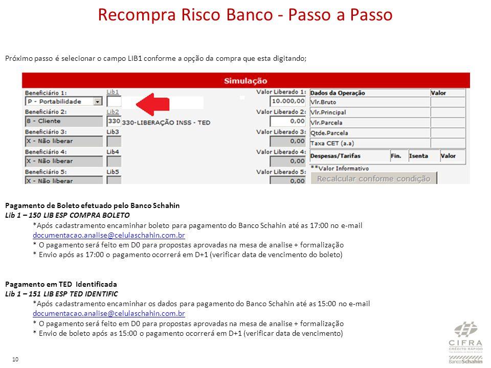 10 Próximo passo é selecionar o campo LIB1 conforme a opção da compra que esta digitando; Pagamento de Boleto efetuado pelo Banco Schahin Lib 1 – 150