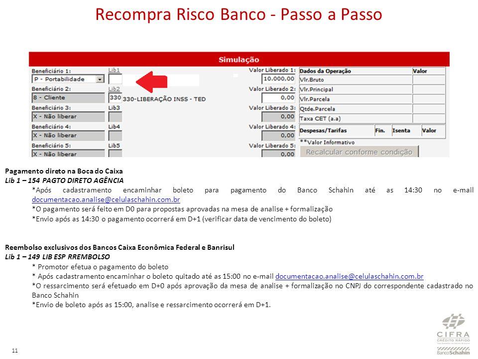11 Pagamento direto na Boca do Caixa Lib 1 – 154 PAGTO DIRETO AGÊNCIA *Após cadastramento encaminhar boleto para pagamento do Banco Schahin até as 14: