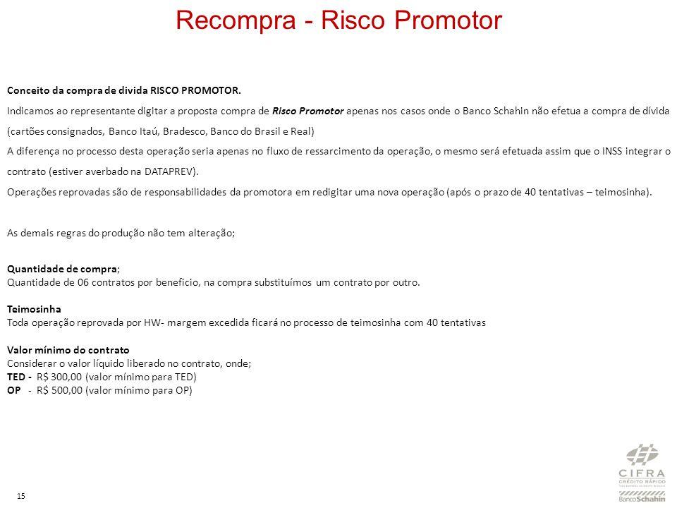 15 Recompra - Risco Promotor Conceito da compra de divida RISCO PROMOTOR. Indicamos ao representante digitar a proposta compra de Risco Promotor apena