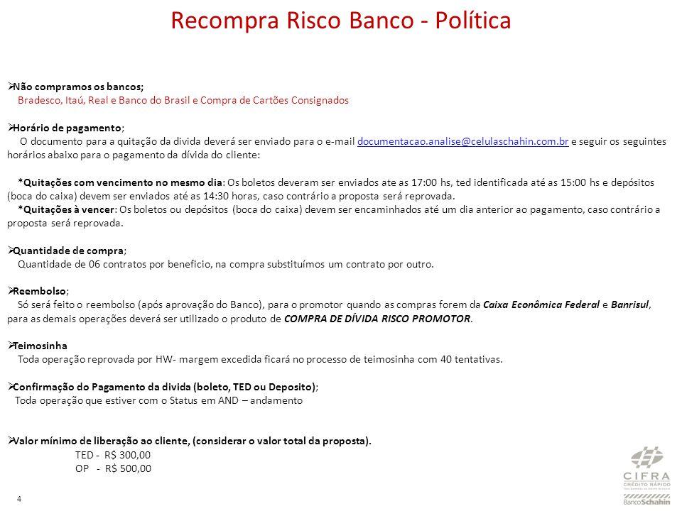 4 Recompra Risco Banco - Política Não compramos os bancos; Bradesco, Itaú, Real e Banco do Brasil e Compra de Cartões Consignados Horário de pagamento