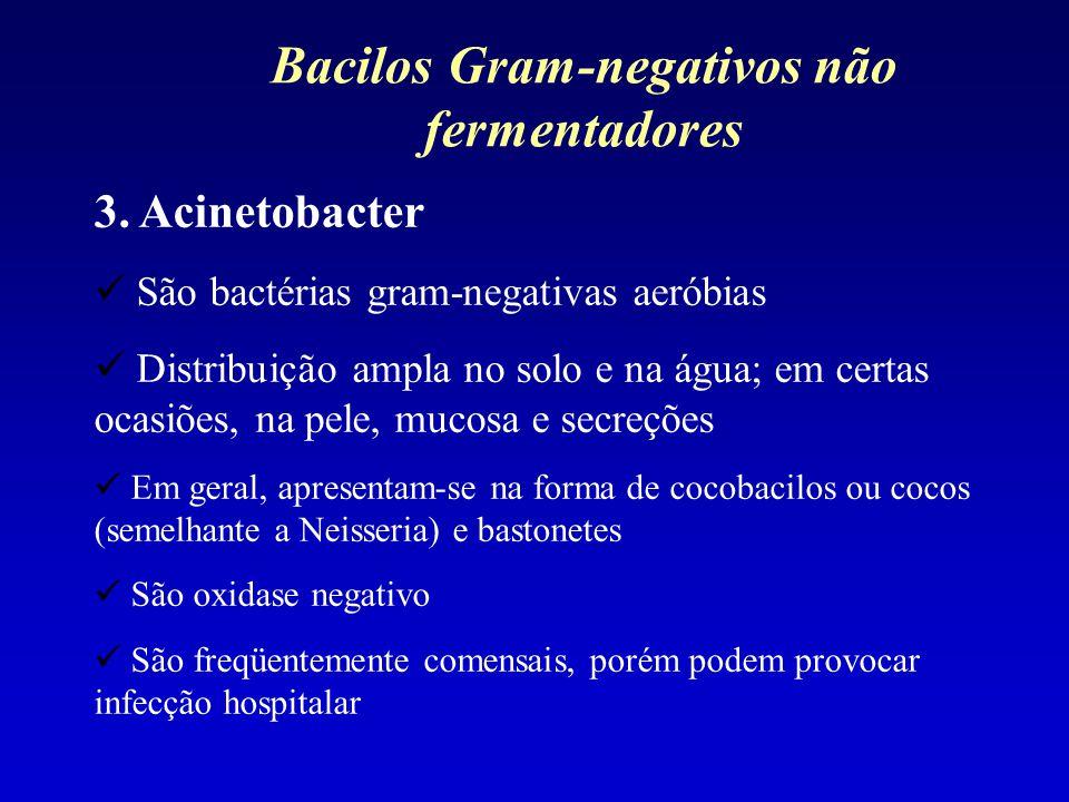 3. Acinetobacter São bactérias gram-negativas aeróbias Distribuição ampla no solo e na água; em certas ocasiões, na pele, mucosa e secreções Em geral,