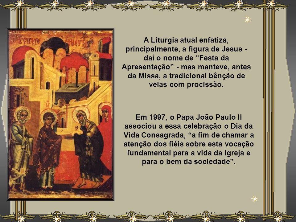 A Liturgia atual enfatiza, principalmente, a figura de Jesus - daí o nome de Festa da Apresentação - mas manteve, antes da Missa, a tradicional bênção de velas com procissão.