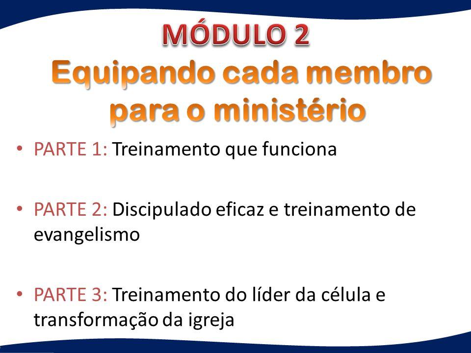 PARTE 1: Treinamento que funciona PARTE 2: Discipulado eficaz e treinamento de evangelismo PARTE 3: Treinamento do líder da célula e transformação da