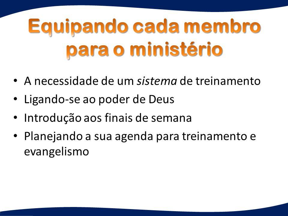 A necessidade de um sistema de treinamento Ligando-se ao poder de Deus Introdução aos finais de semana Planejando a sua agenda para treinamento e evangelismo