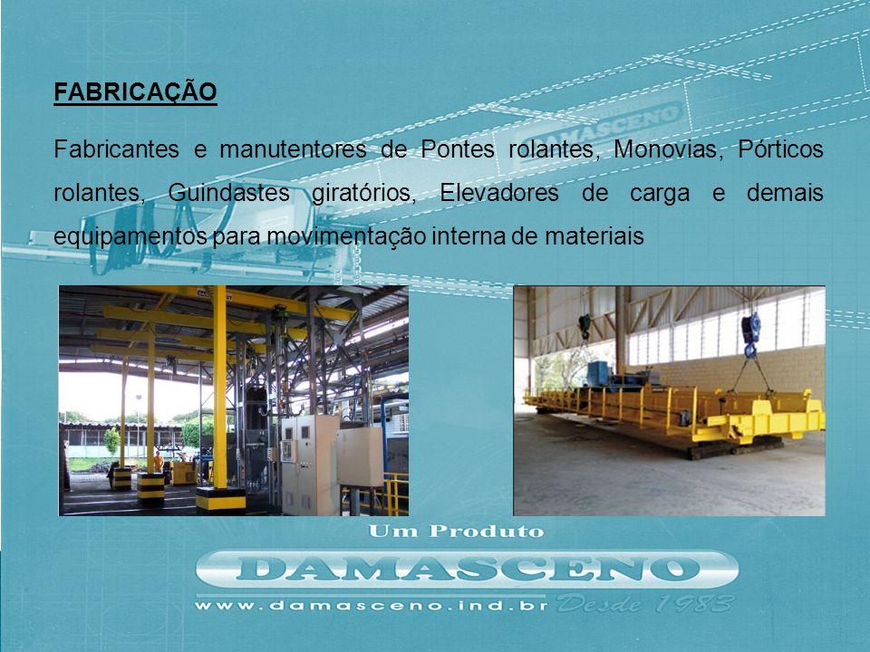 Fabricantes e manutentores de Pontes rolantes, Monovias, Pórticos rolantes, Guindastes giratórios, Elevadores de carga e demais equipamentos para movi