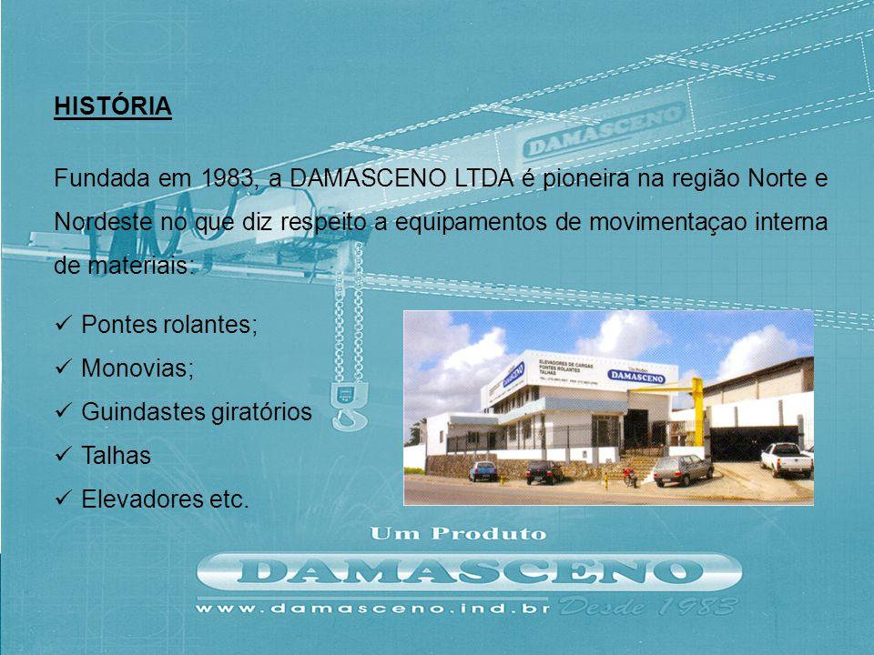 Fundada em 1983, a DAMASCENO LTDA é pioneira na região Norte e Nordeste no que diz respeito a equipamentos de movimentaçao interna de materiais: Ponte