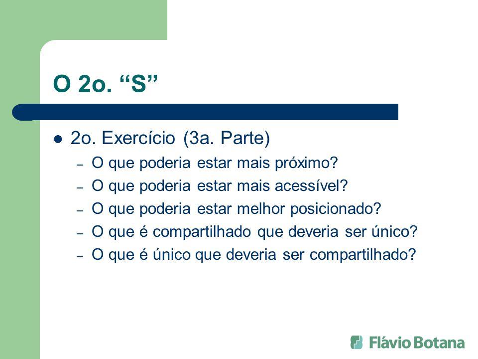 O 2o. S 2o. Exercício (3a. Parte) – O que poderia estar mais próximo? – O que poderia estar mais acessível? – O que poderia estar melhor posicionado?