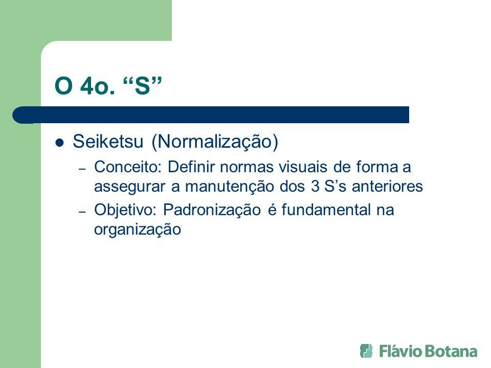 O 4o. S Seiketsu (Normalização) – Conceito: Definir normas visuais de forma a assegurar a manutenção dos 3 Ss anteriores – Objetivo: Padronização é fu