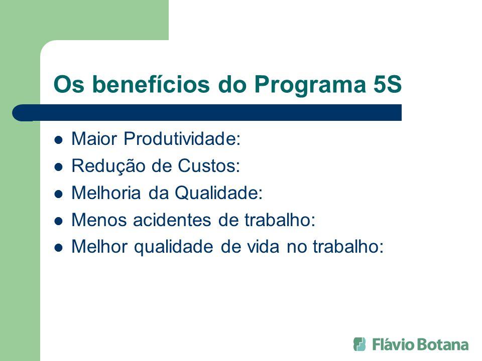 Os benefícios do Programa 5S Maior Produtividade: Redução de Custos: Melhoria da Qualidade: Menos acidentes de trabalho: Melhor qualidade de vida no trabalho: