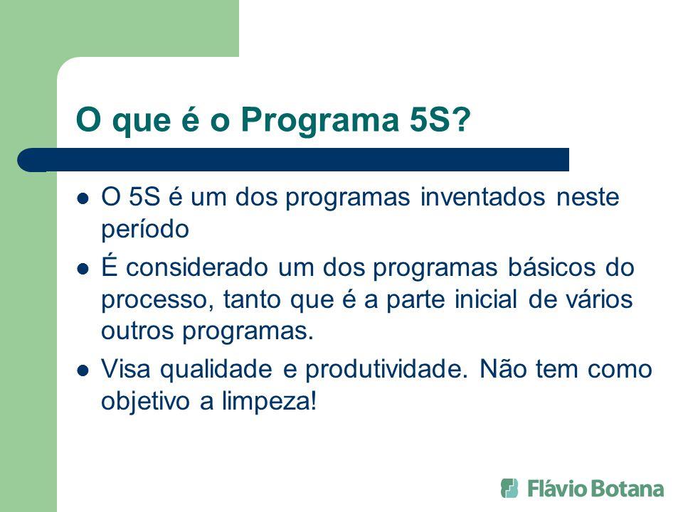 O que é o Programa 5S? O 5S é um dos programas inventados neste período É considerado um dos programas básicos do processo, tanto que é a parte inicia