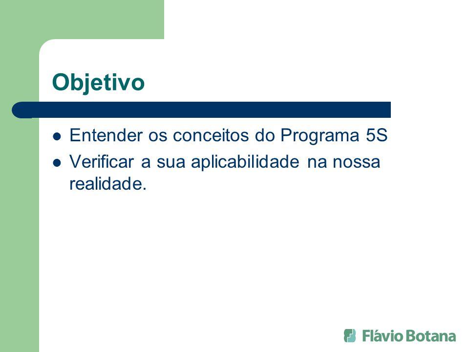 Objetivo Entender os conceitos do Programa 5S Verificar a sua aplicabilidade na nossa realidade.