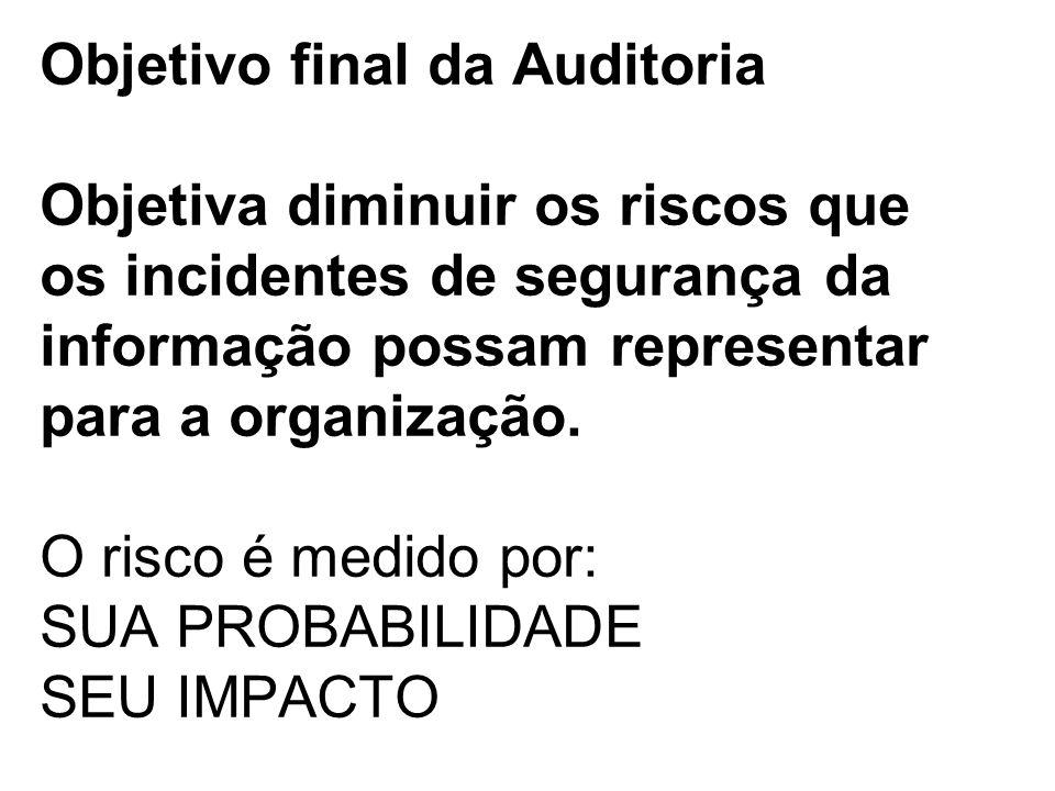 Objetivo final da Auditoria Objetiva diminuir os riscos que os incidentes de segurança da informação possam representar para a organização. O risco é