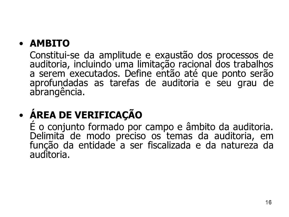 AMBITO Constitui-se da amplitude e exaustão dos processos de auditoria, incluindo uma limitação racional dos trabalhos a serem executados. Define entã