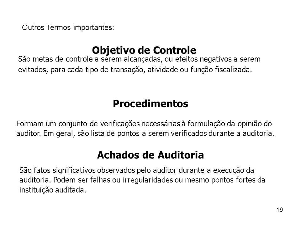 São metas de controle a serem alcançadas, ou efeitos negativos a serem evitados, para cada tipo de transação, atividade ou função fiscalizada. 19 Outr