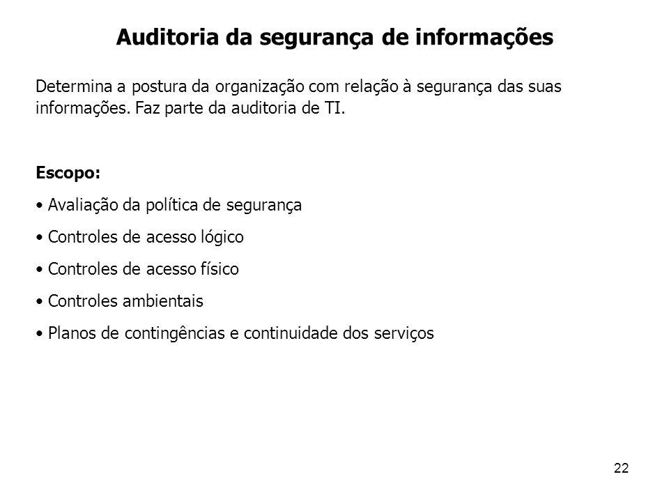 22 Auditoria da segurança de informações Determina a postura da organização com relação à segurança das suas informações. Faz parte da auditoria de TI