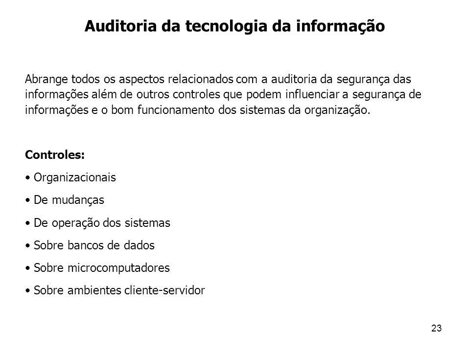 23 Auditoria da tecnologia da informação Abrange todos os aspectos relacionados com a auditoria da segurança das informações além de outros controles
