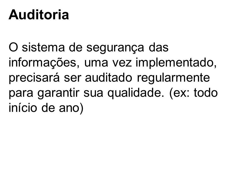 Auditoria O sistema de segurança das informações, uma vez implementado, precisará ser auditado regularmente para garantir sua qualidade. (ex: todo iní