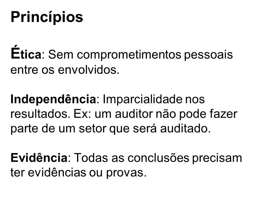 Princípios É tica: Sem comprometimentos pessoais entre os envolvidos. Independência: Imparcialidade nos resultados. Ex: um auditor não pode fazer part