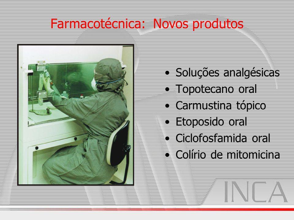 Farmacotécnica: Novos produtos Soluções analgésicas Topotecano oral Carmustina tópico Etoposido oral Ciclofosfamida oral Colírio de mitomicina