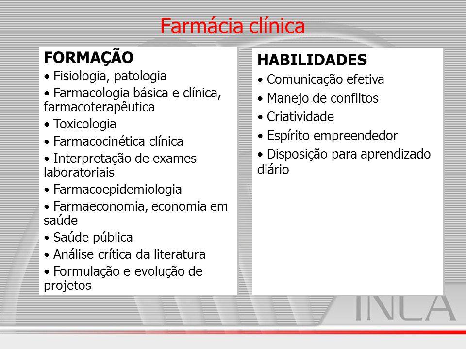 Farmácia clínica FORMAÇÃO Fisiologia, patologia Farmacologia básica e clínica, farmacoterapêutica Toxicologia Farmacocinética clínica Interpretação de