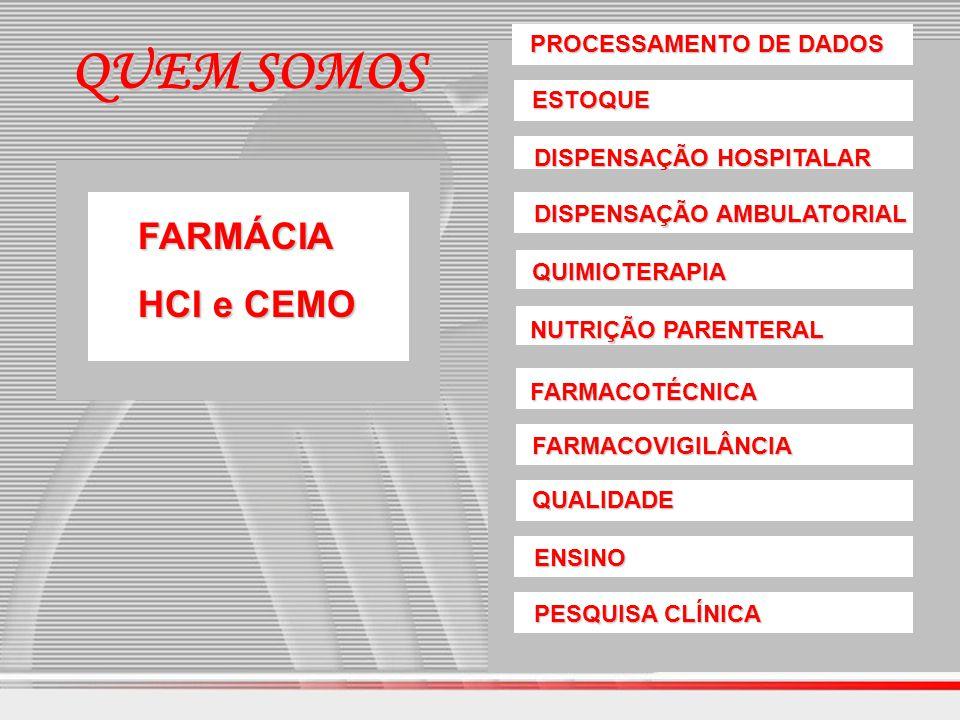 PROCESSAMENTO DE DADOS ESTOQUE DISPENSAÇÃO HOSPITALAR DISPENSAÇÃO AMBULATORIAL QUIMIOTERAPIA NUTRIÇÃO PARENTERAL FARMACOTÉCNICA FARMACOVIGILÂNCIA QUAL