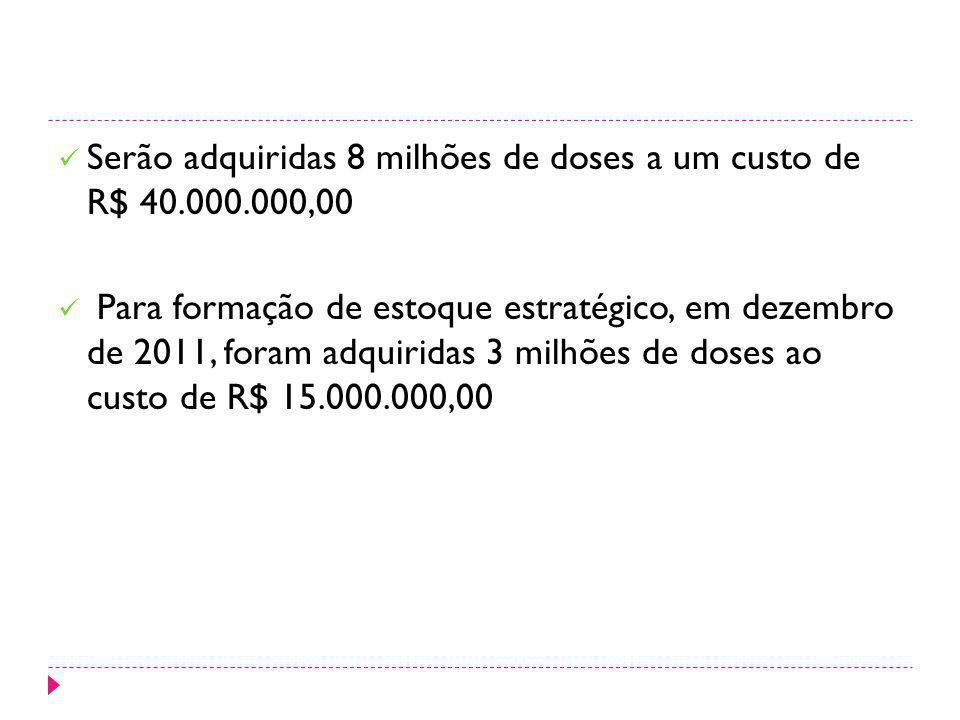 Serão adquiridas 8 milhões de doses a um custo de R$ 40.000.000,00 Para formação de estoque estratégico, em dezembro de 2011, foram adquiridas 3 milhõ
