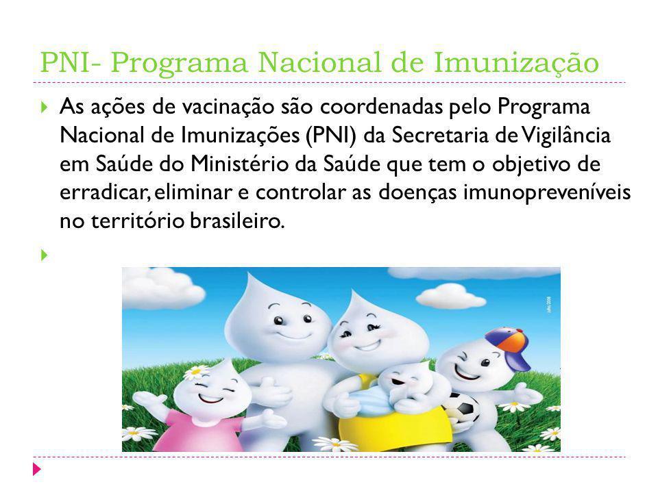 PNI- Programa Nacional de Imunização As ações de vacinação são coordenadas pelo Programa Nacional de Imunizações (PNI) da Secretaria de Vigilância em