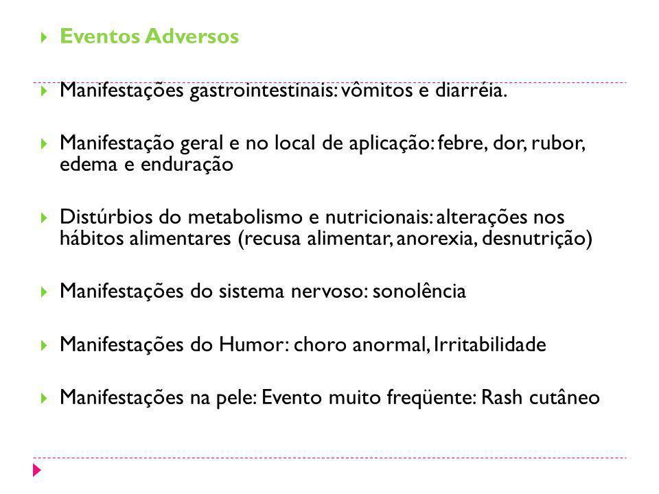 Eventos Adversos Manifestações gastrointestinais: vômitos e diarréia. Manifestação geral e no local de aplicação: febre, dor, rubor, edema e enduração
