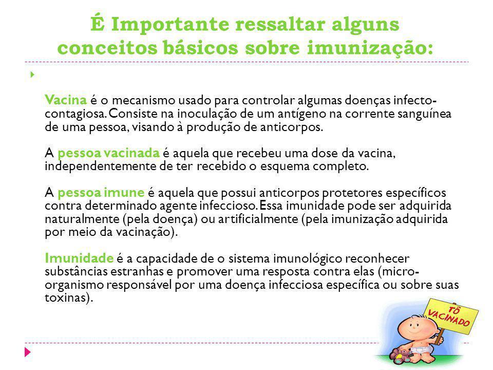 É Importante ressaltar alguns conceitos básicos sobre imunização: Vacina é o mecanismo usado para controlar algumas doenças infecto- contagiosa. Consi