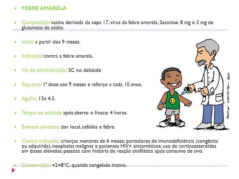 FEBRE AMARELA Composição: vacina derivada da cepa 17, vírus da febre amarela, Sacarose 8 mg e 3 mg de glutamato de sódio. Idade: a partir dos 9 meses.