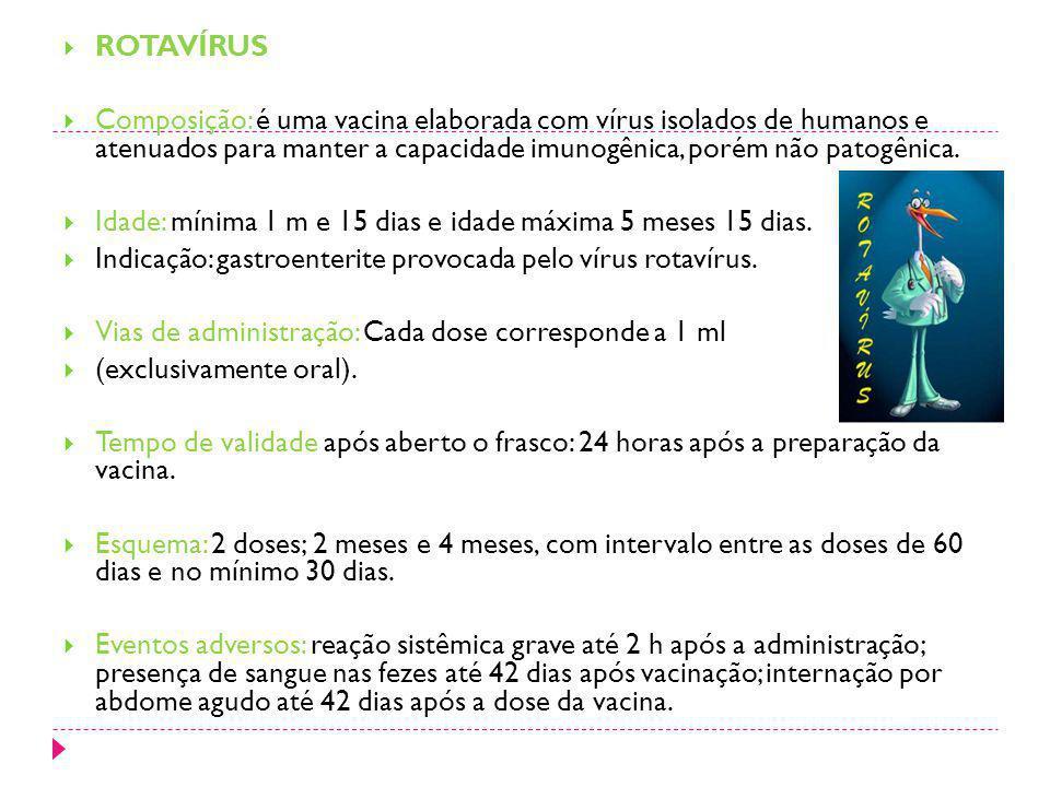 ROTAVÍRUS Composição: é uma vacina elaborada com vírus isolados de humanos e atenuados para manter a capacidade imunogênica, porém não patogênica. Ida