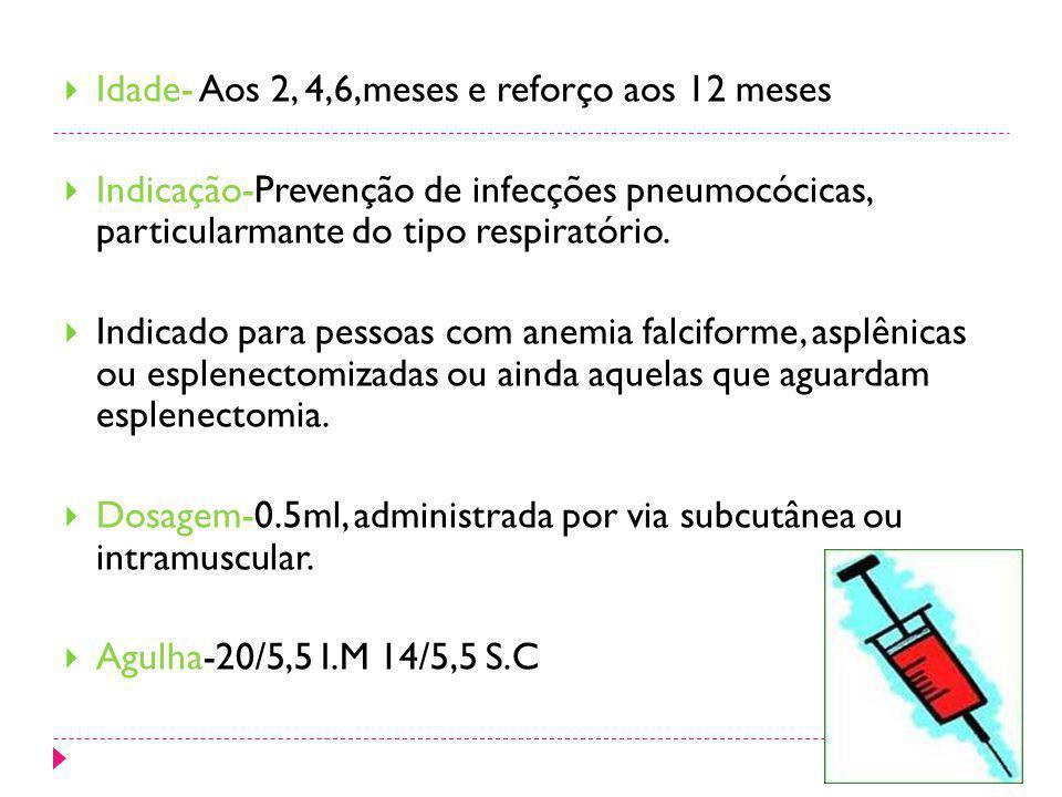 Idade- Aos 2, 4,6,meses e reforço aos 12 meses Indicação-Prevenção de infecções pneumocócicas, particularmante do tipo respiratório. Indicado para pes