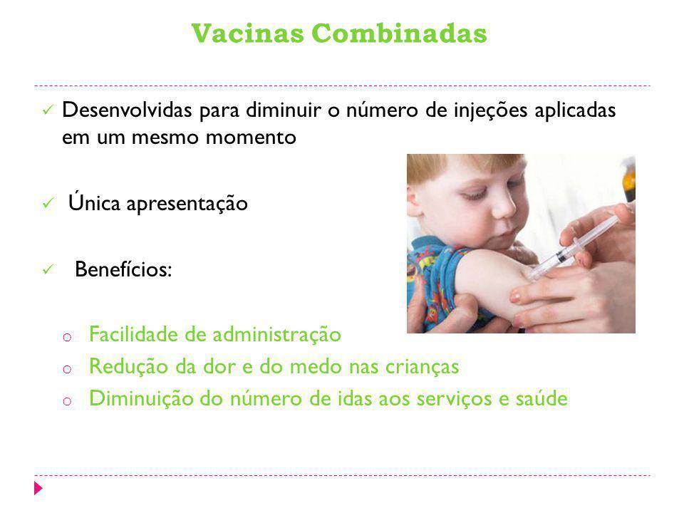 C ontribui para alcançar altas coberturas vacinais Reduz custos dos imunobiológicos e da logística operacional (armazenamento, transporte, seringas e agulhas) PNI vem adotando esta estratégia: o Vacina tríplice viral (sarampo, rubéola e cachumba), em 2002 o Tetravalente (difteria, tétano, coqueluche e Haemophilus influenza tipo B), em 2003.