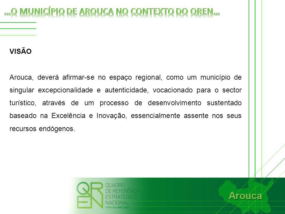 VISÃO Arouca, deverá afirmar-se no espaço regional, como um município de singular excepcionalidade e autenticidade, vocacionado para o sector turístico, através de um processo de desenvolvimento sustentado baseado na Excelência e Inovação, essencialmente assente nos seus recursos endógenos.