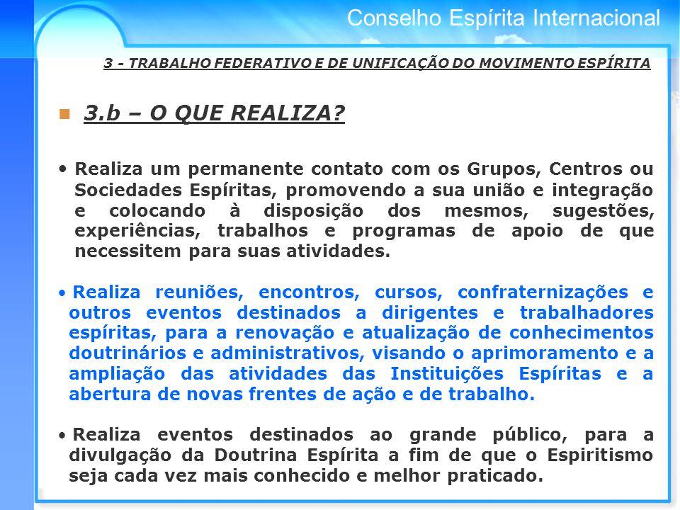 Conselho Espírita Internacional 3.b – O QUE REALIZA.