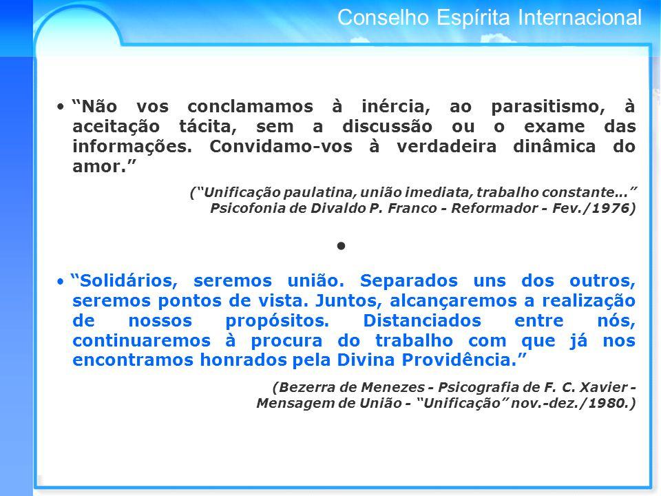 Conselho Espírita Internacional Não vos conclamamos à inércia, ao parasitismo, à aceitação tácita, sem a discussão ou o exame das informações.