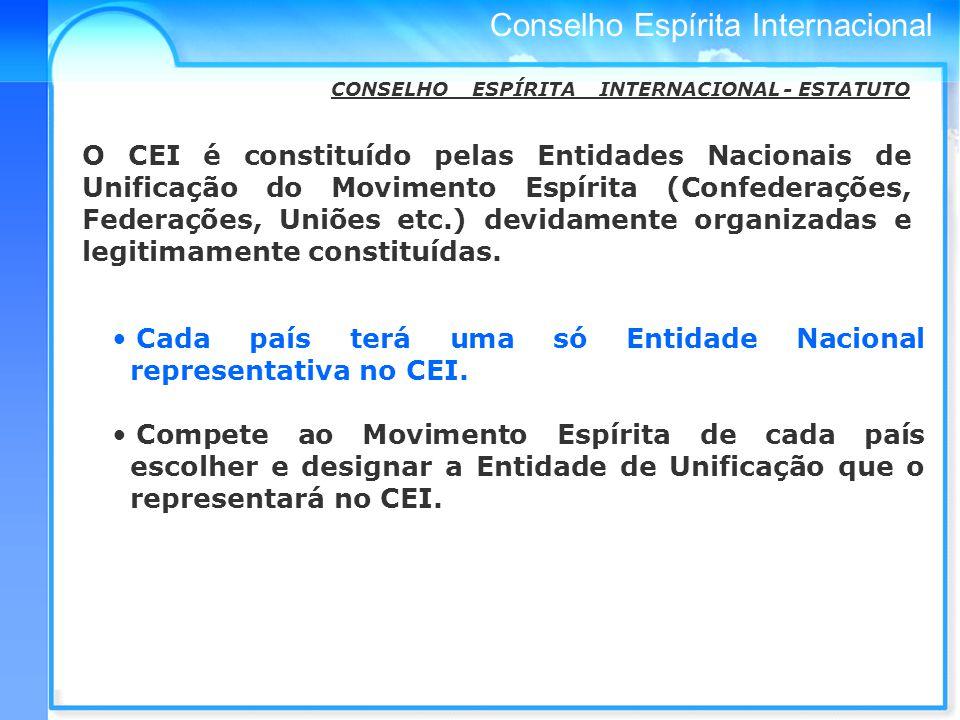 Conselho Espírita Internacional O CEI é constituído pelas Entidades Nacionais de Unificação do Movimento Espírita (Confederações, Federações, Uniões etc.) devidamente organizadas e legitimamente constituídas.