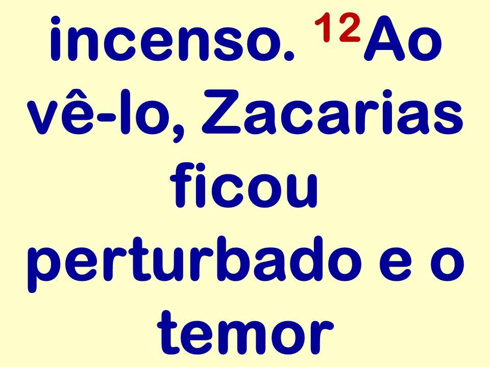 incenso. 12 Ao vê-lo, Zacarias ficou perturbado e o temor