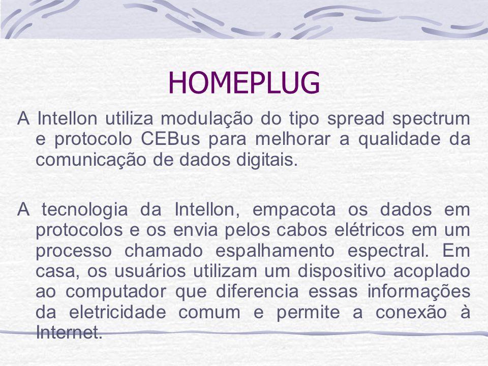 HOMEPLUG A Intellon utiliza modulação do tipo spread spectrum e protocolo CEBus para melhorar a qualidade da comunicação de dados digitais. A tecnolog