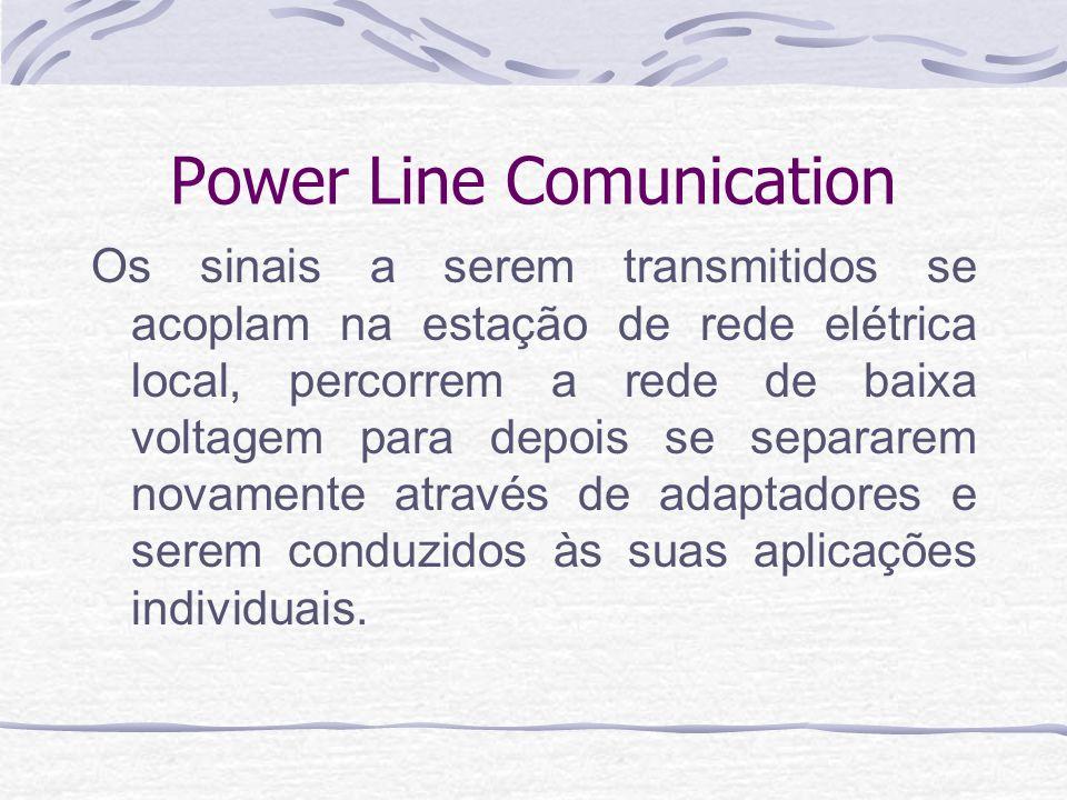 Power Line Comunication Os sinais a serem transmitidos se acoplam na estação de rede elétrica local, percorrem a rede de baixa voltagem para depois se