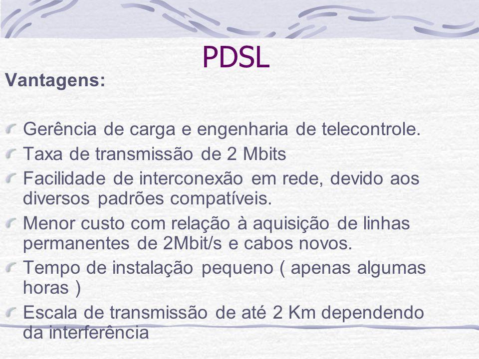 PDSL Vantagens: Gerência de carga e engenharia de telecontrole. Taxa de transmissão de 2 Mbits Facilidade de interconexão em rede, devido aos diversos
