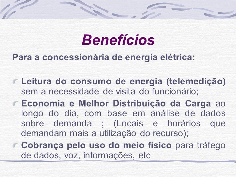 Benefícios Para a concessionária de energia elétrica: Leitura do consumo de energia (telemedição) sem a necessidade de visita do funcionário; Economia