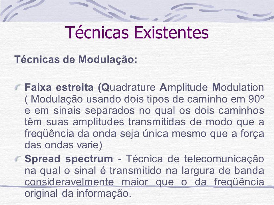 Técnicas Existentes Técnicas de acesso: Divisão por Tempo – TDMA ( Acesso Múltiplo por Divisão de Tempo –tecnologia de células hierárquicas que digitaliza e comprime vozes) Divisão por Freqüência – FDMA ( Acesso Múltiplo por Divisão de Freqüência – utiliza a freqüência dividida para fornecer múltiplas e simultâneas transmissões para um aparelho que amplifica e retransmite o sinal em uma freqüência diferente) Divisão Código – CDMA (Acesso Múltiplo por Divisão de Código –Multiplica por três o número de usuários de cada canal)