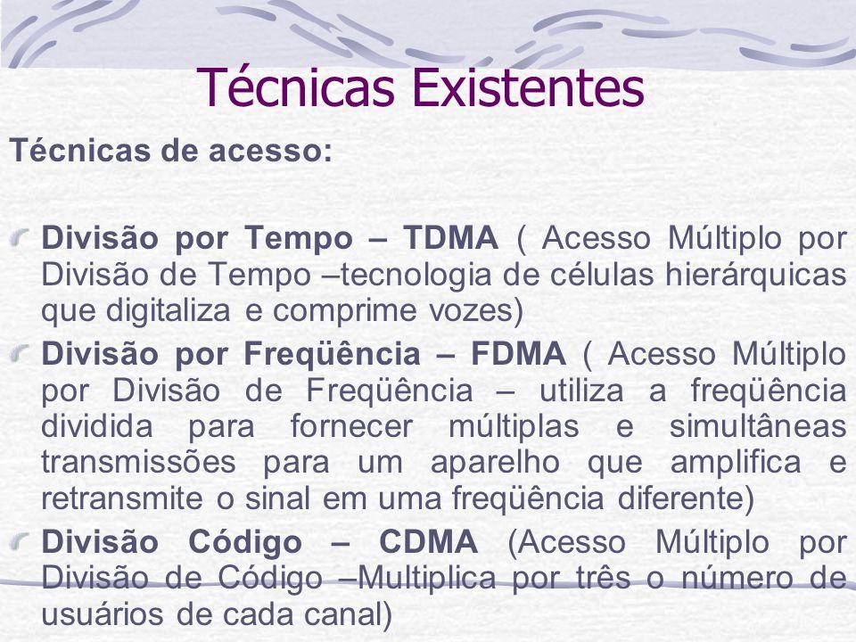 Técnicas Existentes Técnicas de acesso: Divisão por Tempo – TDMA ( Acesso Múltiplo por Divisão de Tempo –tecnologia de células hierárquicas que digita