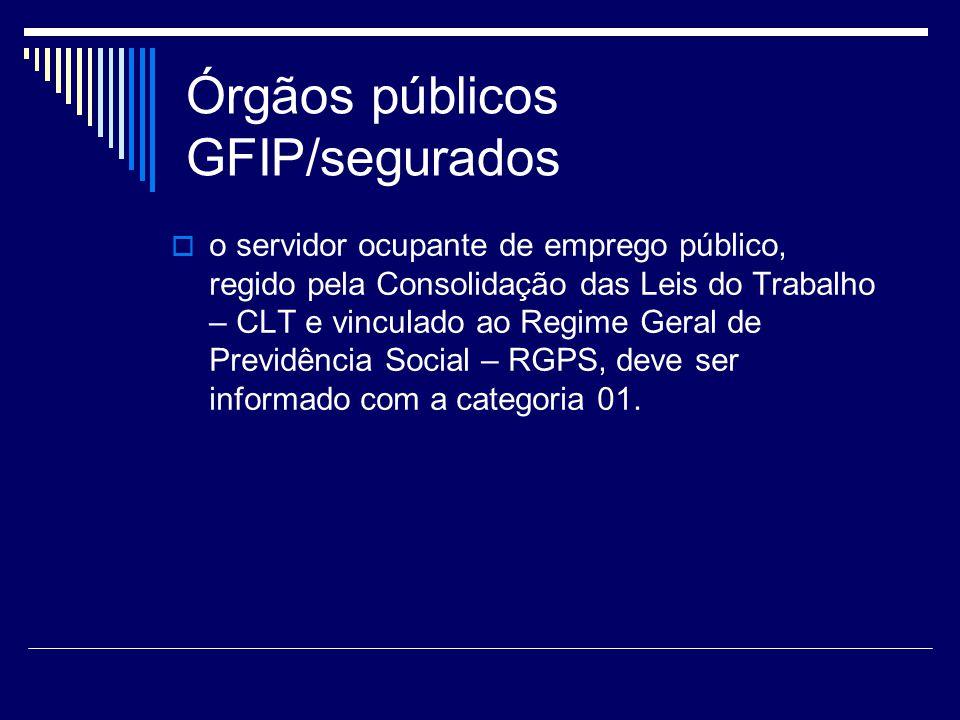 Órgãos públicos GFIP/segurados o servidor ocupante de emprego público, regido pela Consolidação das Leis do Trabalho – CLT e vinculado ao Regime Geral