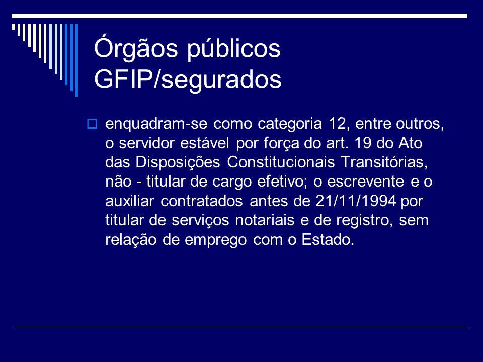 Órgãos públicos GFIP/segurados enquadram-se como categoria 12, entre outros, o servidor estável por força do art. 19 do Ato das Disposições Constituci