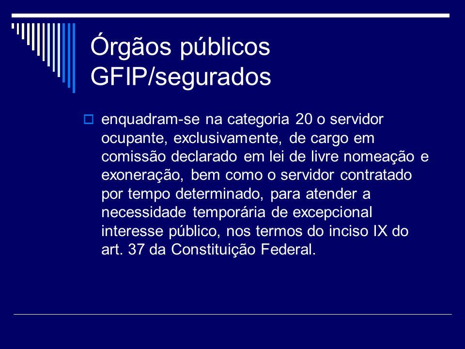 Órgãos públicos GFIP/segurados enquadram-se na categoria 20 o servidor ocupante, exclusivamente, de cargo em comissão declarado em lei de livre nomeaç